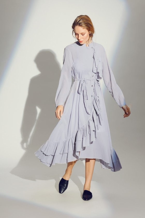 CRINKLE COTTON SHIRT DRESS