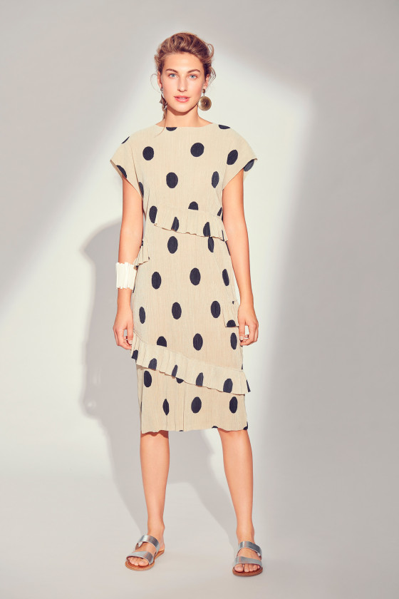 PLISSÉ DOT DRESS