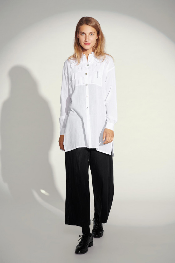CRINKLE COTTON SHIRT TUNIC