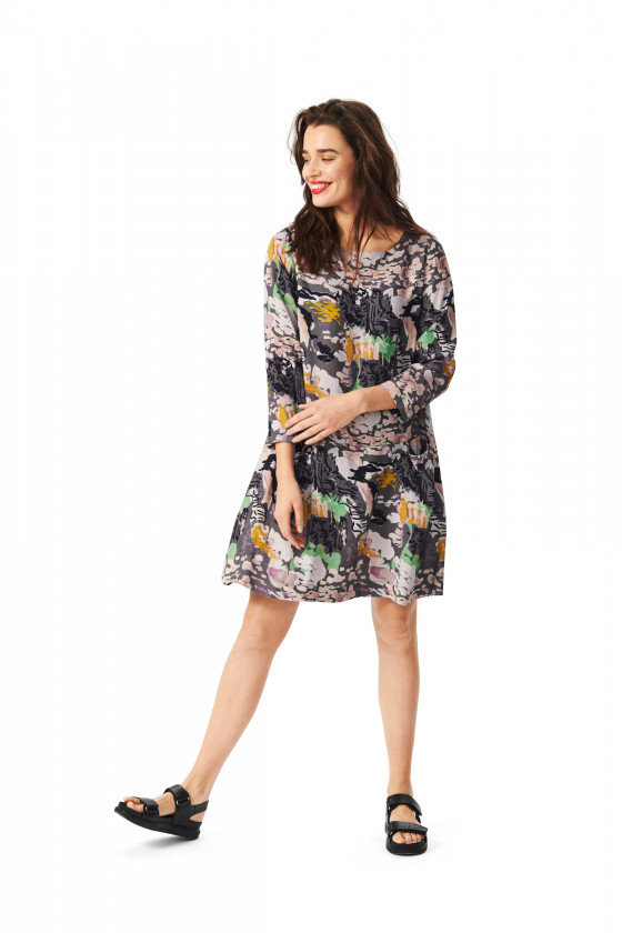 WATERCOLOR VISCOSE DRESS WITH POCKETS
