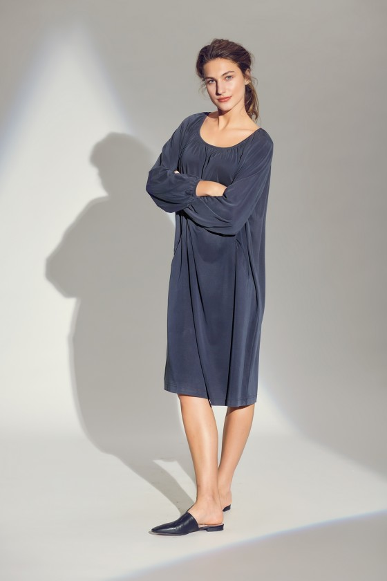 DRAPE JERSEY DRESS WITH POCKETS