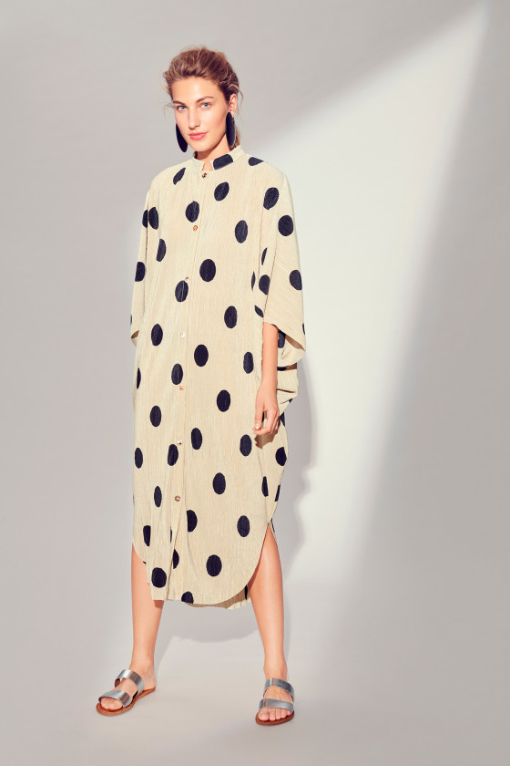 PLISSÉ DOT SHIRT DRESS