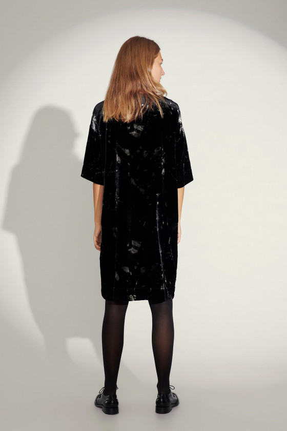 INK BLOT VELVET WIDE DRESS