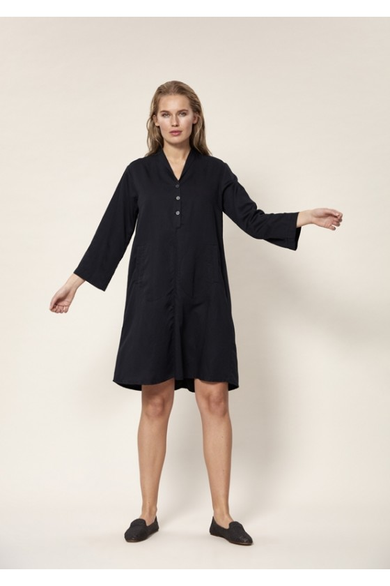 LIN TENCEL DRESS WITH COLLAR