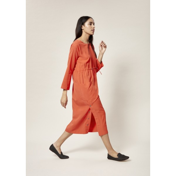 DRAPY TWILL DRESS WITH STRING