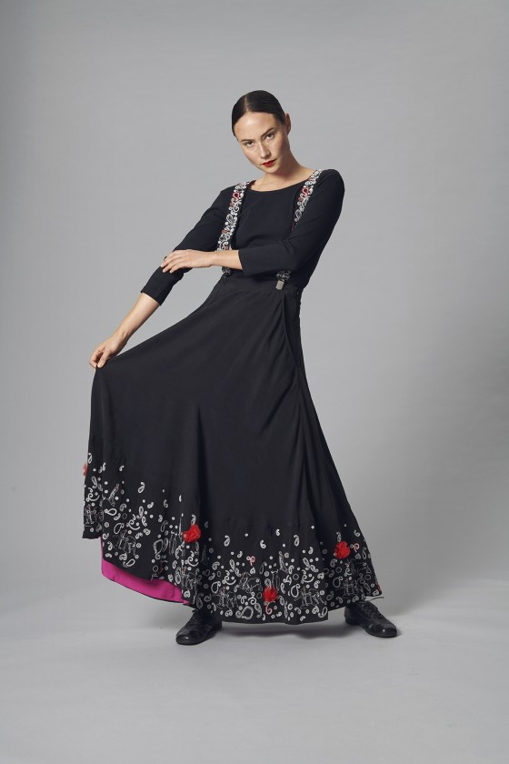 EMBROIDERED CUPRO SKIRT
