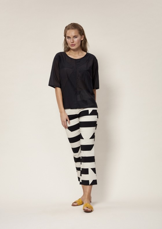 DISRUPTED STRIPE PANTS WITH FLARE