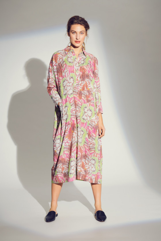 CRACKED PEONIES SHIRT DRESS