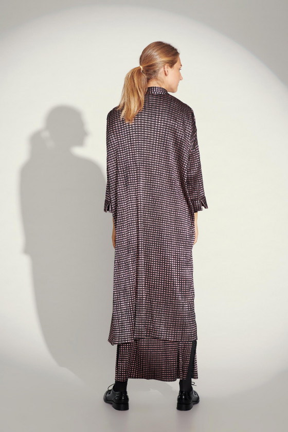 SQUARE GRID SHIRT DRESS