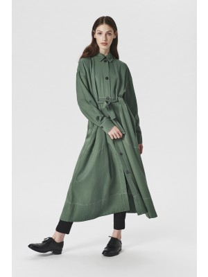 DRAPY TWILL COAT DRESS
