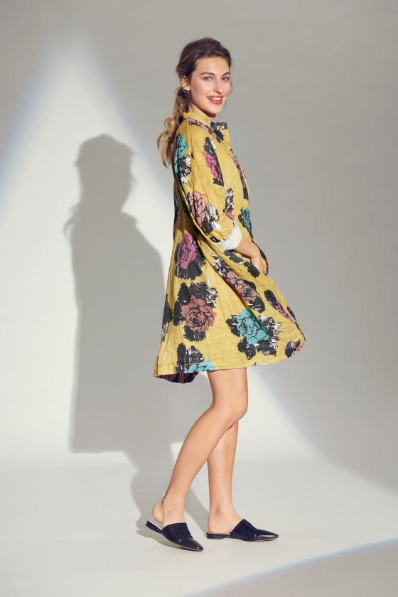 SEA OF ROSES DRESS WITH COLLAR