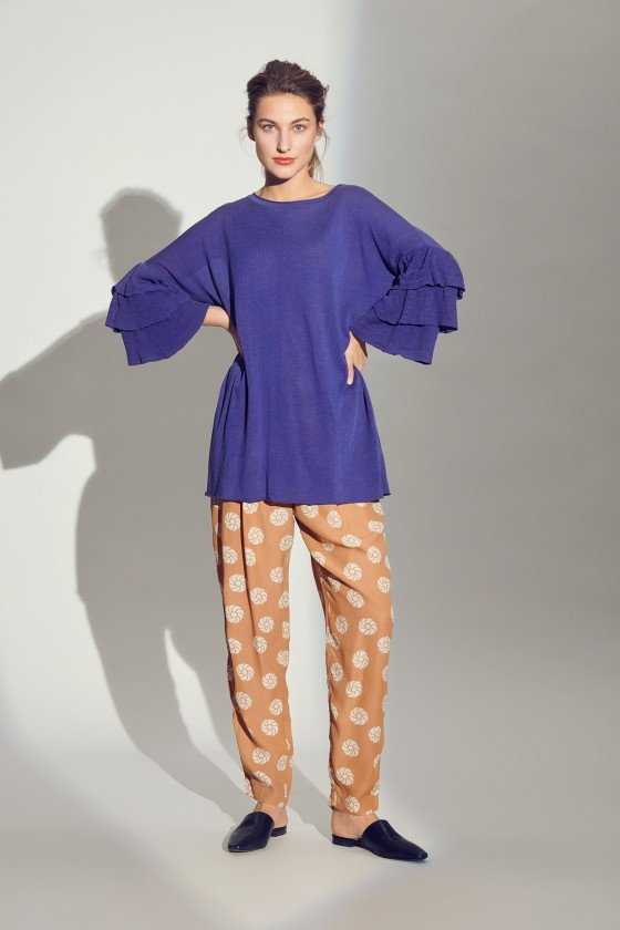 LUXOR KNIT TUNIC WITH FLOUNCE