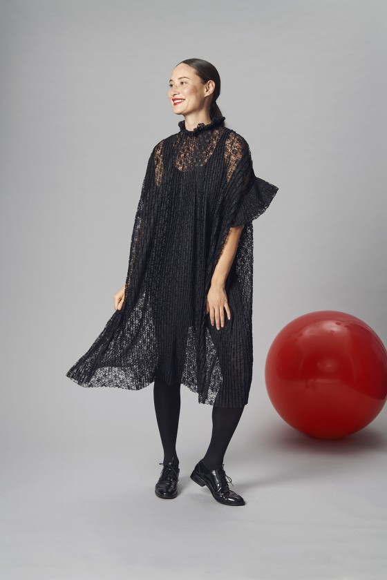 PLISSÉ LACE DRESS