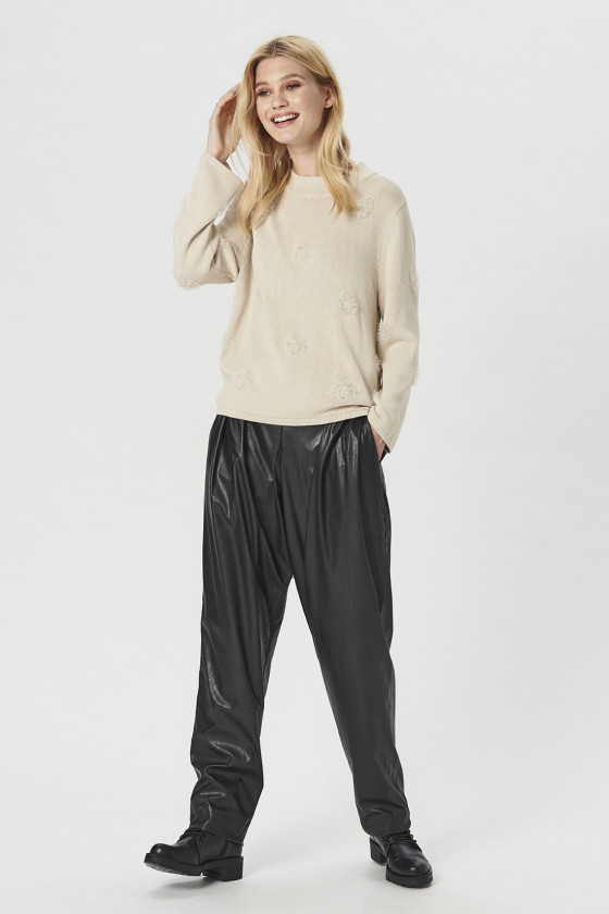 ARTIFICIAL LEATHER ELASTIC PANTS
