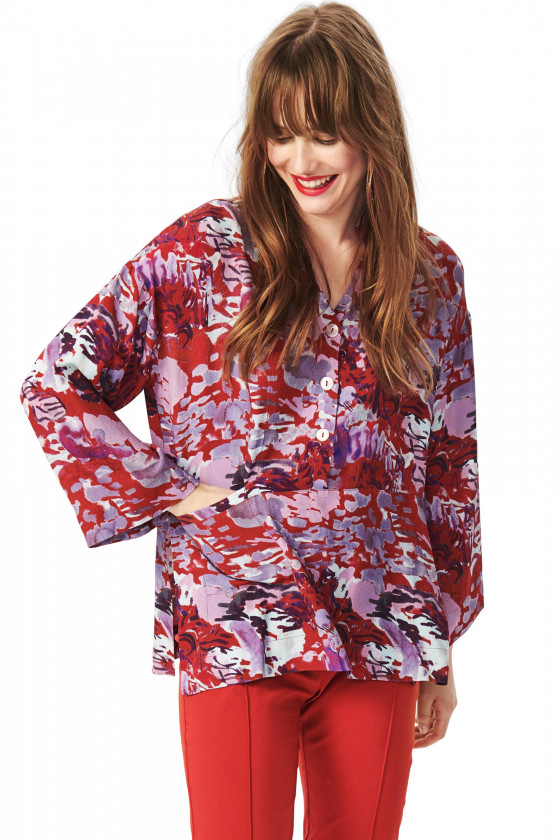 WATERCOLOR VISCOSE BLUSE MED KNAPPER