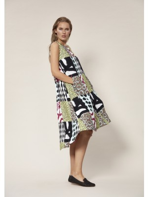 PATCHWORK VISCOSE LANGES KLEID