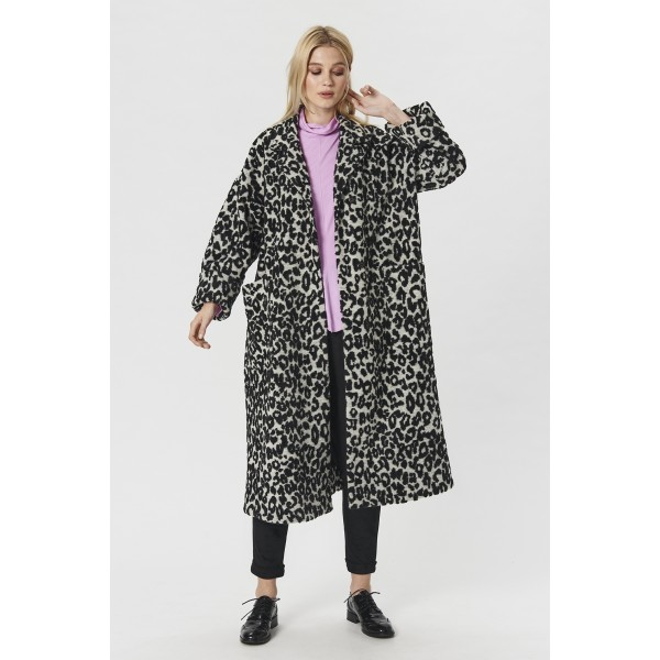 LEOPARD WOOL LONG COAT