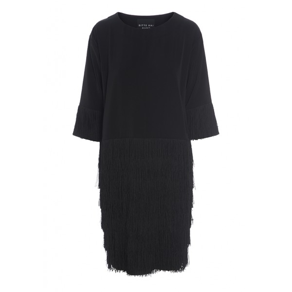 DAPPER DRAPE FRINGE DRESS