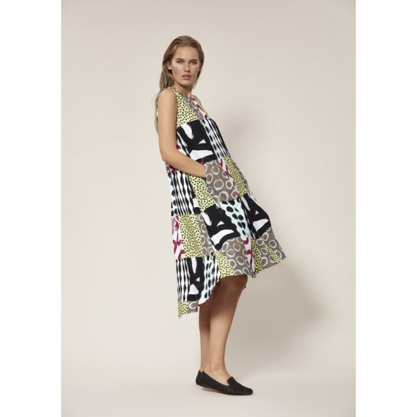 PATCHWORK VISCOSE LONG DRESS