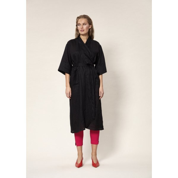 AIRY LINEN WRAP DRESS