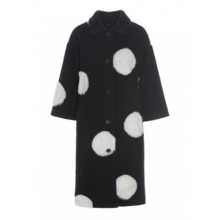 FUR DOT WOOL COAT