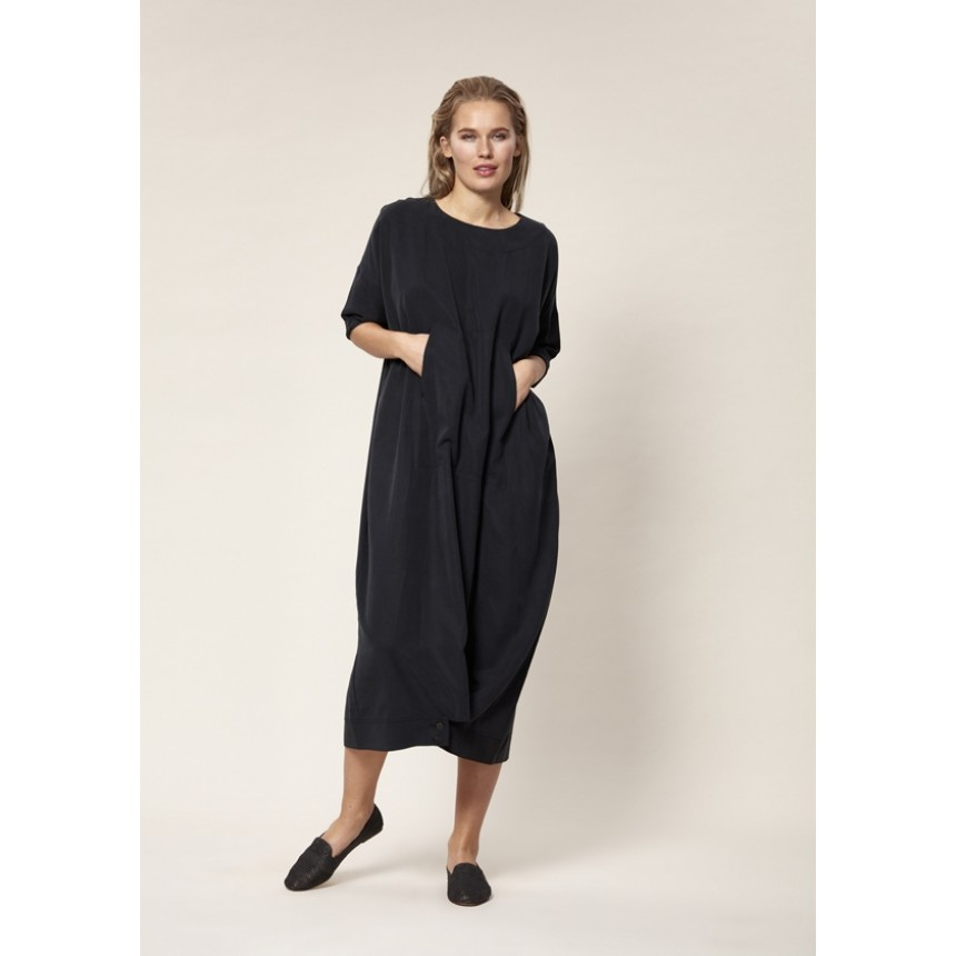 DRAPY TWILL LONG DRESS