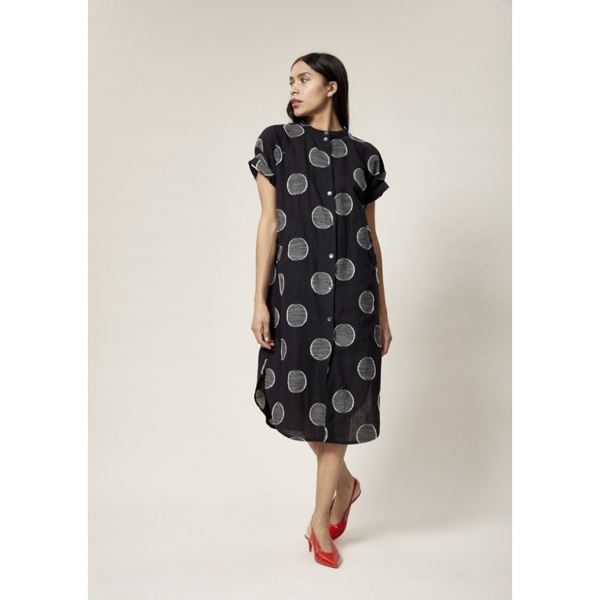 DOTS LINEN BLEND DRESS