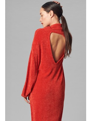 SHIMMER CHENILLE TURTLENECK DRESS