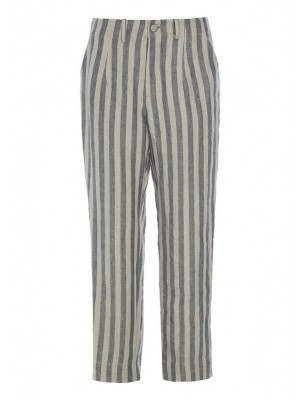 MINERAL LINEN STRIPE NARROW PANTS