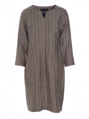 MINERAL LINEN STRIPE DRESS WITH POCKETS