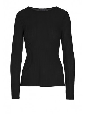 NEW WOOL RIB-KNIT BLOUSE