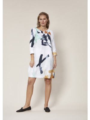 ARTWORK LINEN SHORT DRESS
