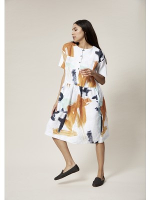 ARTWORK LINEN SHIRT DRESS