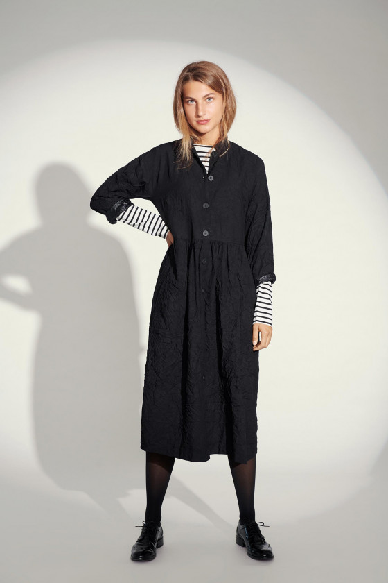 CREASED COTTON MIX COAT DRESS