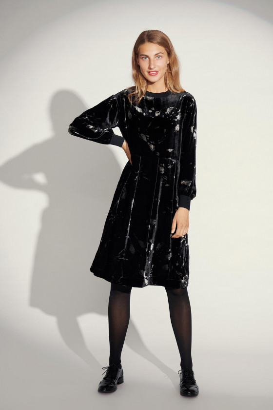 INK BLOT VELVET DRESS WITH RIB DETAIL