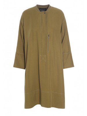 DRAPY TWILL ZIP DRESS