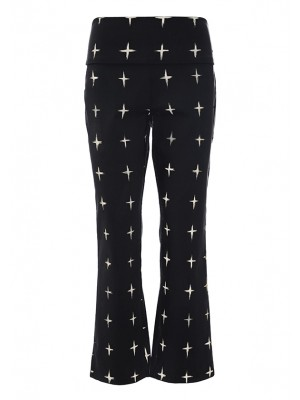 GRID STRETCH PANTS W FLARE