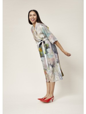 THE ARTIST LINEN WRAP DRESS