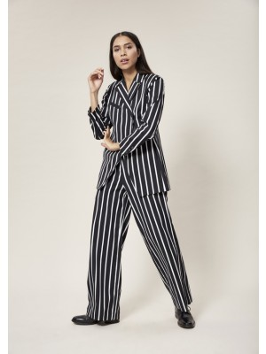 STRIPEY STRETCH WIDE PANTS