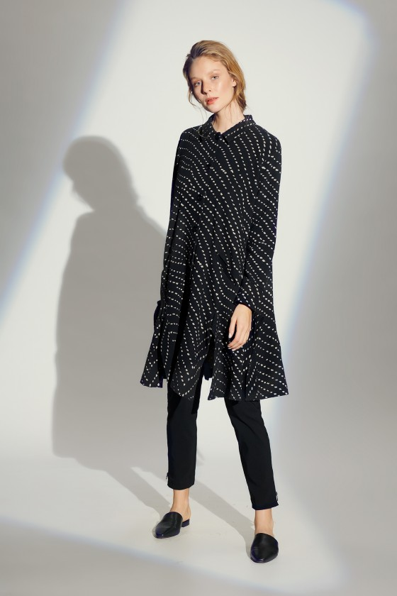 DIAGONAL DOT JACQUARD DRESS