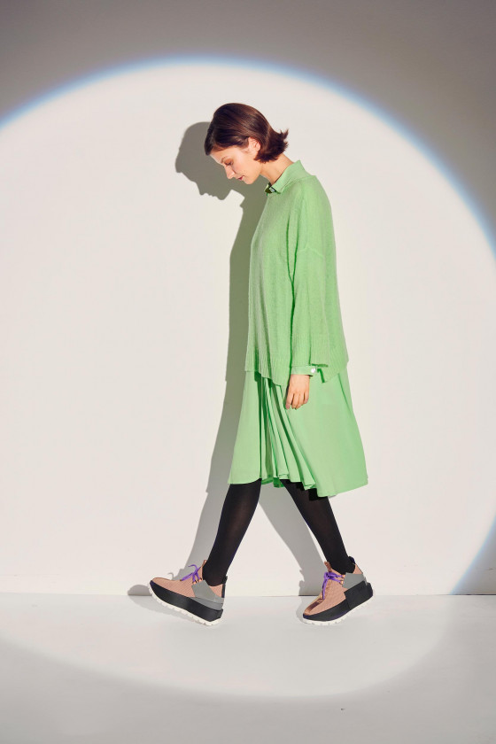 AIR WOOL BLOUSE WITH 3/4 SLEEVE