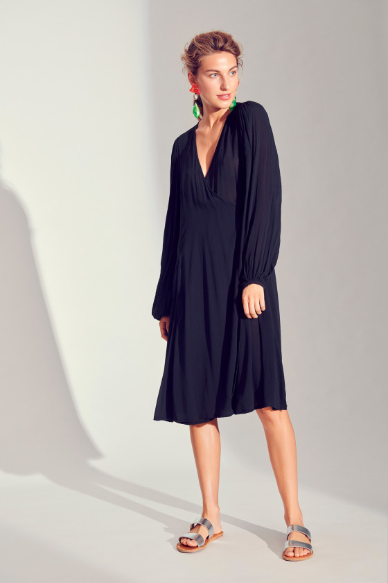 CREPON VISCOSE WRAP DRESS