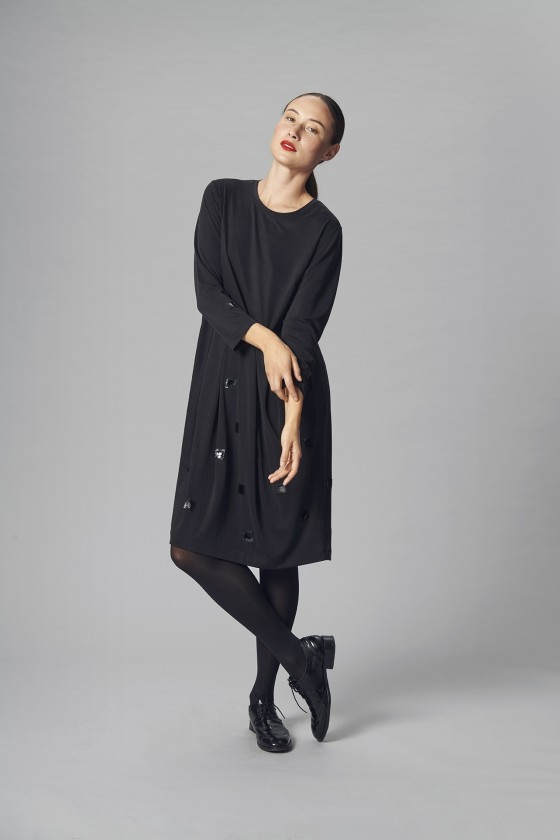 DRAPE JERSEY DRESS WITH PLEATS