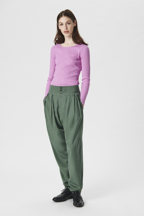 DRAPY TWILL TROUSERS WITH PLEATS